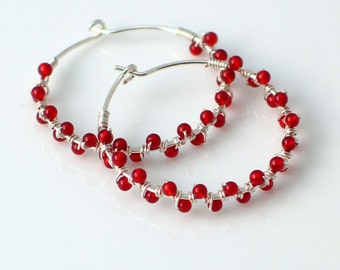 Carnelian Hoop Earrings, Stone Beaded Hoops, Bright Orange Red Dainty Handmade Hoops
