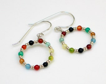 Colorful Beaded Hoop Earrings, Bright Stones and Sterling Silver Dangles, Hippie Earrings