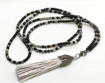 Long Beaded Necklace with Silver Gray Silk Tassel, Long Black & Gray Wrap Chain, Fun Boho Jewelry Trend, Beautiful Hippie Accessory