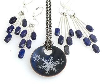Blue Lapis Lazuli Statement Earrings, Long Chandelier Dangles, Sterling Silver & Blue Denim Stone Dangles, Artisan Design Handmade Earrings