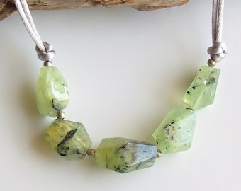 Prehnite Necklace, Natural Prehnite Geometric Faceted Nuggets, Green Stones & Gray Satin, Natural Fashion Trend, WillOaks Stacked Stones