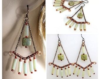 Long Chandelier Boho Earrings, Celery Hippie Earrings, Pale Serpentine & Glass Dangles, Artisan Handmade, Ready to Mail Gift for Her