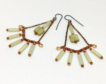 Long Chandelier Statement Earrings, Celery Boho Earrings, Pale Jade & Glass Dangles, Summer Fashion Artisan Handmade, Ready to Mail Gift