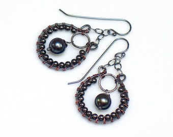 Dark Peacock Pearl Hoops, Dark Pearl Beaded Dangle Earrings, Dark Sterling Ornate Hippie Earrings, Artisan Made Fashion, Unique Gift for Her