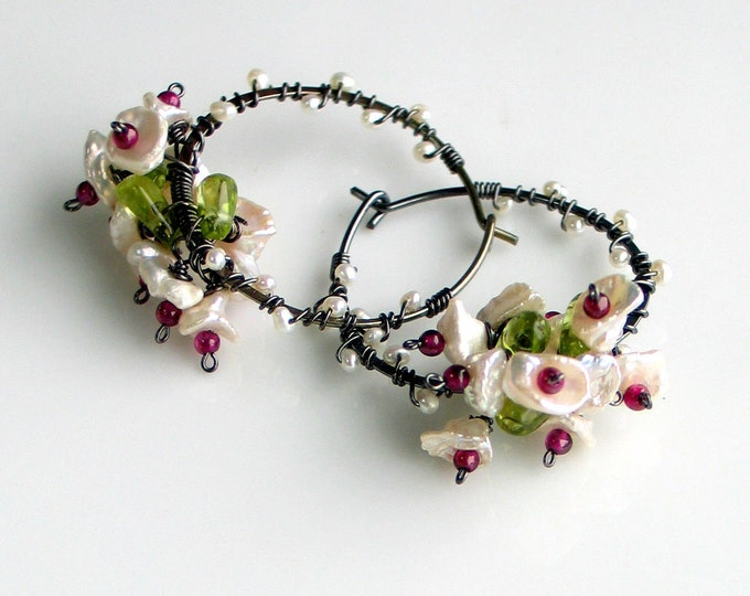 Featured listing image: White Keishi Pearl Earrings, Pearl Garnet Peridot Flower Bouquet, Dark Sterling Hoop Earrings, Flower Vines, Nature Fashion