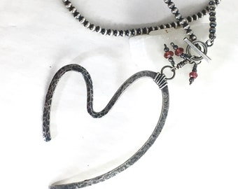 Forged Silver Heart Pendant I, Sterling & Garnet Artisan Necklace, Oxidized Silver Beaded Chain, Graphic Heart, Original Gift, Ready to Ship