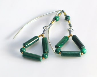 Emerald Green Malachite Triangle Dangles, Mixed Metal Earrings with Green Natural Malachite, Geometry Fashion, Irish Green St. Patrick's Day