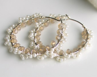 Lacy Pearly Hoops, Pearlized Glass Beads Crystals and Sterling Silver Earrings, Weddings Prom Romantic Earrings