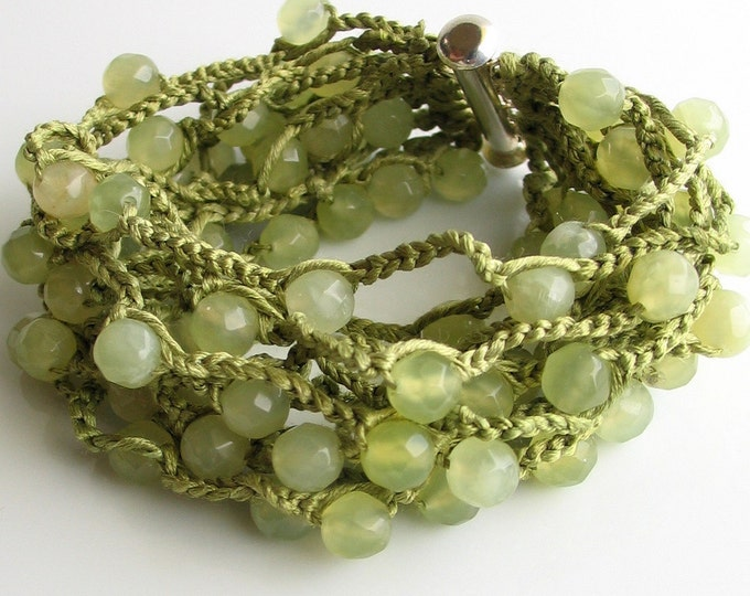Featured listing image: Crochet Stone and Silk Cuff in Sea Green Jade, Pale Green Cuff, Faceted Jade and Silk Bracelet, Vogue 2012 Crochet Issue