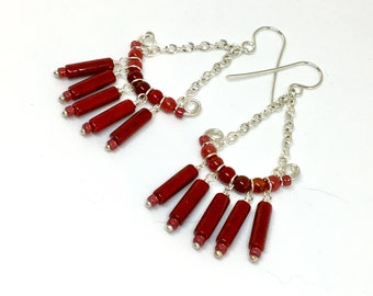 Red Stone Beaded Silver Chandelier Earrings, Long Boho Chandeliers in Ruby Red, Hippie Dangle, Artisan Handmade Statement Earrings, Gift