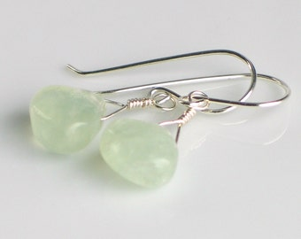 Green Prehnite and Sterling Silver Dangle Earrings, Pale Sea Green Earrings, Green Stone Earrings, Nature's Gift for Her