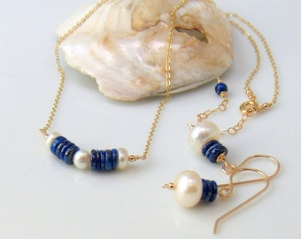 Blue Lapis & White Pearl Bar Choker Necklace and Earrings Set, Gems Pearls Gold Jewelry Set, Original Artisan Gift for Her, Fresh Fashion
