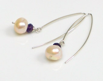 Amethyst and Pearls Sterling Silver Drop Earrings, Purple and White Long Earrings, Sterling Ear Wires with Freshwater Pearl Dangles
