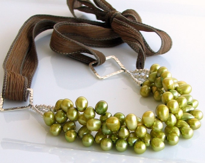 Featured listing image: Pear Green Pearl Bib Necklace LAST ONE, Chartreuse Freshwater Pearls, Multi-strand Statement on Silk Ties, Deluxe Necklace Gift for Her