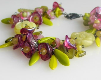 Wild Garden Flower Jewelry, Rose Pink and Olive Green Blossoms Grand Floral Bracelet, Handmade One of a Kind Original, WillOaksStudio,