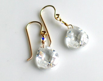 CZ Sparkle Dangle Earrings, April Birthday, Clear Cubic Zirconia and Gold, Drop Earrings, Elegant Gift, Wedding Prom Fashion, Ready to Ship