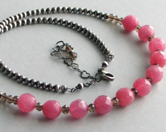 Faceted Pink Stone Necklace and Oxidized Sterling Silver, Pink Quartz Focal Point on a Silver Necklace