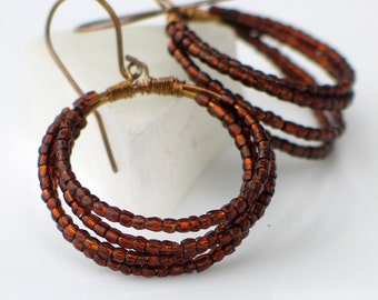 Brown Beaded Hoop Earrings, Big Sterling Silver Hoop Earrings with Vintage Rootbeer Beads, Original Coiled Hoop Earrings