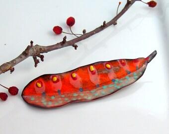 Orange  Lapel Pin, Copper Enamel Art, Hand Cut Enameled Brooch, Leaf Jewelry, Bright Colors, WillOaks Studio Flora Series