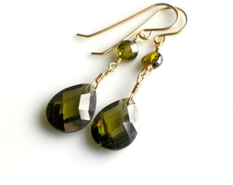 Green Chandelier Dangle Earrings, Moss Green Cubic Zirconia and Gold Earrings, Elegant Perfect Gift, Ready to Ship, WillOaks Studio