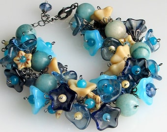 Deluxe Blue Flower Bracelet in Glass and Stone Charms, Czech Pressed Glass Garden Cuff, Extraordinary Gift for Her, Gardeners' Delight