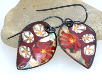 Red Gold & White Enameled Leaf Earrings, Copper Enamel Jewelry, Red Leaf Dangles, Handmade Glass Enamel, Ready to Mail, Gift for Her