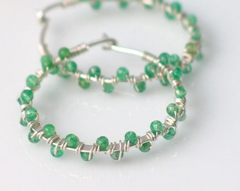 Dainty Handmade Hoops Green Gemstones, Sterling Silver Earrings Wrapped in Green Stone Beads, Petite Original Hoops, Spring Handmade Fashion