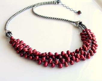 Red Pearl Bib and Sterling Silver Beaded Chain Necklace, Multistrand Pearl Cluster, Scarlet Pearls, Deluxe Gift for Her