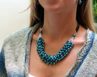 Teal Blue Statement Necklace, Multistrand Cluster Bib Necklace, Freshwater Pearls on Silk Ribbon, Original WillOaks Studio Artisan Design