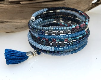 Black & Blue Glass Wrap Bracelet, Magical Mixtures of Blue Beads, Easy On and Off Steel Memory Wire Cuff, WillOaks Studio Original