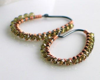 Mossy Green Crystal Hoops, Fern Green Earrings, Crystal Wrapped Hoops with Mixed Metals