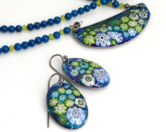 Featured listing image: Enamel Pendant and Earring Set, Enameled Jewelry, Blue and Green Earrings and Copper Pendant On Long Beaded Chain, Flower Garden Design