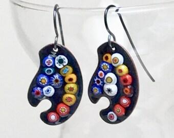 Flower Painters Palette Earrings, CopperEnamel Jewelry, Nature Inspired Gift for Gardener Artist & Art Appreciator, WillOaks Ready to Mail