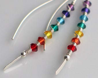Sterling Silver Chakra Earrings with Rainbow Crystals, Elegant Curved Stick Earrings in Bright Colors, Joyful Fashion Trend