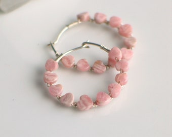 Pink Stone Heart Sterling Hoops, Tiny Lacy Rhodochrosite Hearts Bound to Handmade Silver Hoops, Mothers Day Gift, Unique Gift for Her