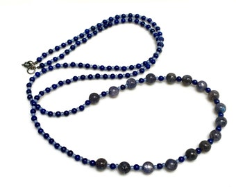 Blue Labradorite Long Beaded Necklace, Lapis Blue and Opal Blue Mixed Beads, Beaded Chain to Wrap or Layer, Mothers Day Gift