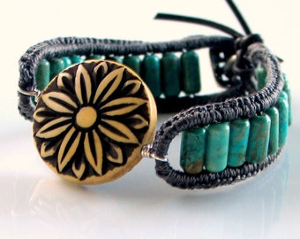 Crocheted Teal Stone and Silk Cuff, Turquoise Beaded Leather Bracelet, Carved Bone Medallion Cuff, Original Artisan Jewelry, Wearable Art