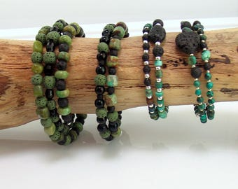 Essential Oil Jewelry, Black Green and Teal Lava Stone Bracelets, Beaded Memory Wire Bracelets for Essential Oils