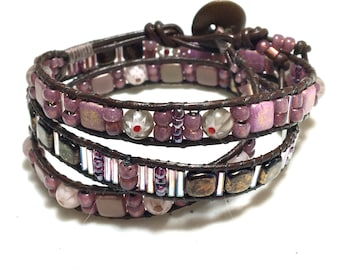 Three Wrap Cuff, Woven Glass & Leather, Shades of Mauve Bronze, Spring Inspired 3-Wrap Bracelet, Original WillOaks Studio Artisan Jewelry