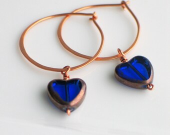 Cobalt Blue Heart Hoops, Czech Glass Heart on Handmade Copper Hoop Earrings, Transparent Glass Heart Earrings for Giving