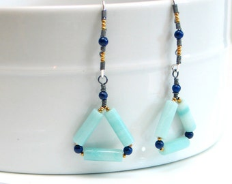 Navy and Aqua Blue Triangle Dangles, Amazonite & Mixed Metal Lapis Lazuli Earrings, Geometry Spring Trend, Artisan Gemstone Fashion Earrings