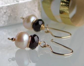 Pearl Garnet Gold Earrings, Handmade Freshwater Pearl Earrings in Gold Filled, Fashion Earrings, January Birthstone