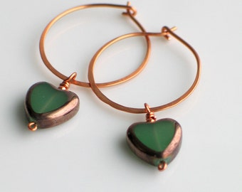 Celadon Green Heart Hoops, Czech Glass Heart on Handmade Copper Hoop Earrings, Translucent Glass Heart Earrings for Giving