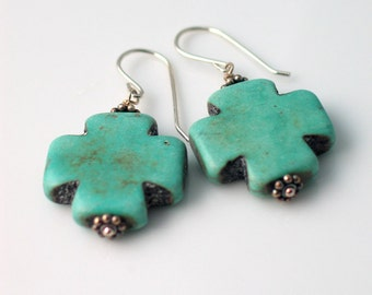 Swiss Cross Earrings, Sterling Silver and Teal Blue Easter Cross Earrings, Rustic Handmade Dangle Earrings, Swiss Jewelry, Christian Jewelry