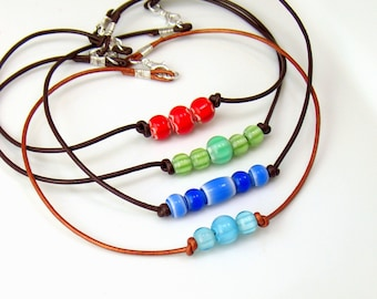 Summer Necklace, Leather Choker and Bright Glass Beads, Choose Bead Colors, Natural Retro Hippie Fashion, Rustic Leather Necklace, Cool Gift