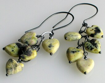 "Yellow Hearts Long Dangle Earrings, ""Yellow Turquoise,"" Gray Oxidized Sterling Silver Artisan Handmade Earrings"
