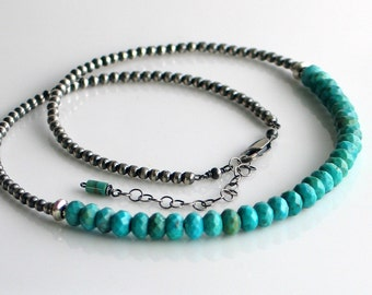 "Turquoise Necklace with Sterling Silver Beaded Chain, Handmade Turquoise Stone Choker on a WillOaksStudio ""Special Chain,"" Layering Chain"