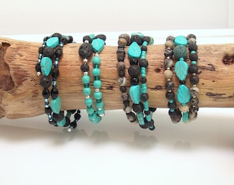 Turquoise Leaf Beads and Lava Stone Bracelets for Essential Oils, Black Gray and Blue Beaded Memory Wire Bracelets