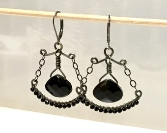 Black Chandelier Earrings with Czech Glass, Oxidized Silver Beaded Dangles, Ornate Hippie Hoops, Artisan Originals by WillOaks Studio