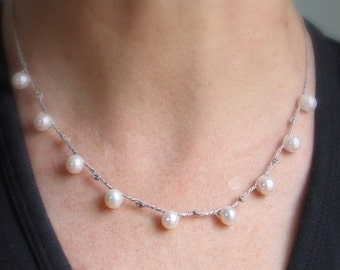 White Pearl Necklace, Dove Gray Silk Chain with Crochet Picots Necklace, Wedding Necklace, Simple Elegance